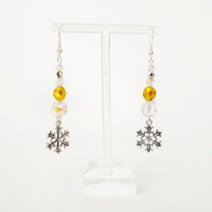 Náušnice Crystal Gold Snowflake